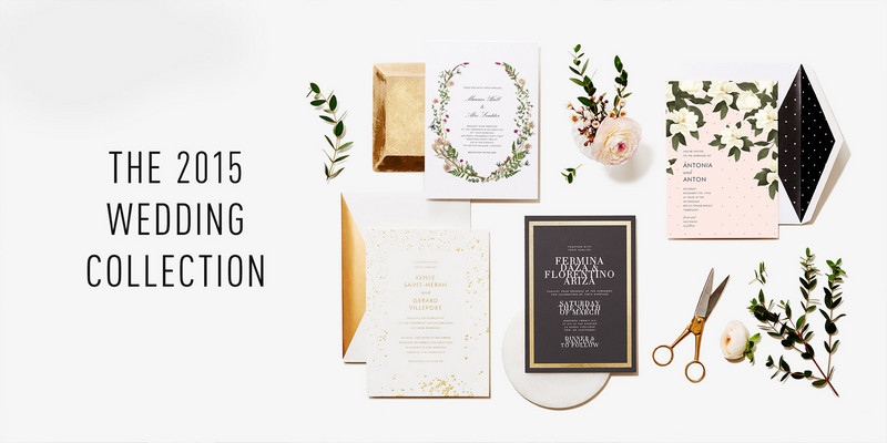 A collection of various wedding stationary.